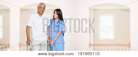 Nurse giving care to an elderly patient at home