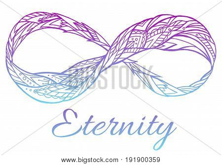illustration of the sign of eternity with a boho pattern and color gradient. Doodle element for print on a T-shirt sketches of tattoo invitations and your creativity. Coloring for Adult