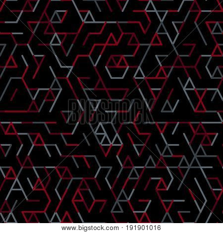Geometric random lines pattern. Abstract technology dark background with red and grey geometric shapes tessellation on black. Linear abstract lattice random coloring. Vector seamless linear pattern.
