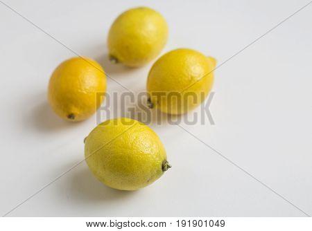 fresh lemon close up on white background