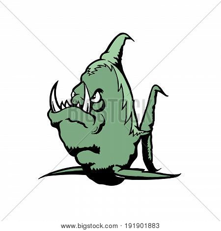 Sea Monster cartoon character. . Vector Illustration design