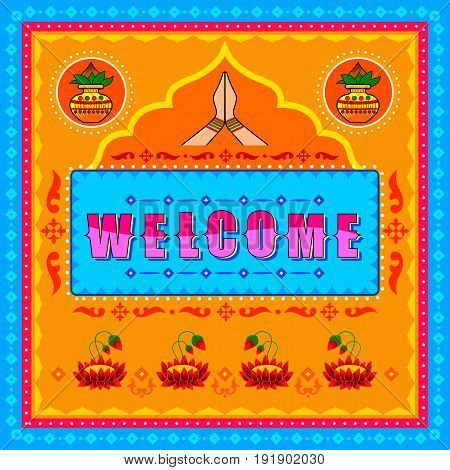 Vector design of Welcome background in Indian Truck Art style