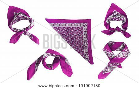 lilac violet purple manzhenta scarf bandanna pattern isolated.