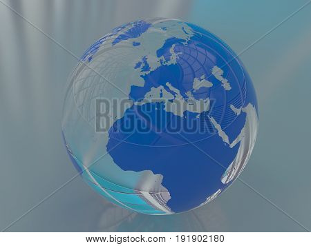 Glass planet earth, with continents of the world, blue globe, 3D rendering illustration.