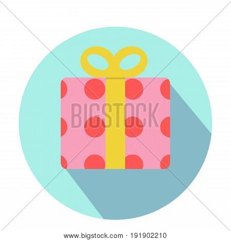 Pink Gift boxes with red circle pattern and yellow ribbon on blue circle with long shadow vector illustration.Flat gift box decoration design.