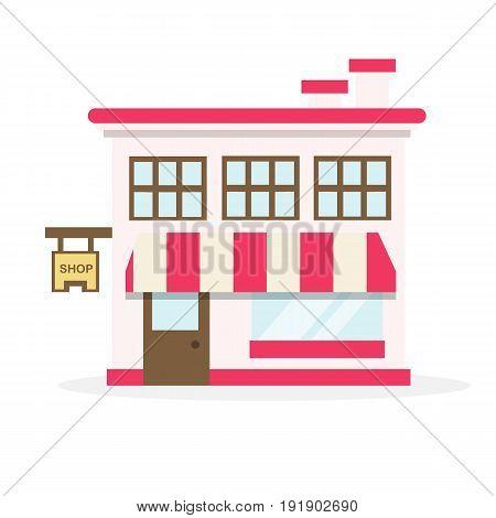 Shop house flat design vector illustration on white background