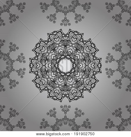 Dim pattern on gray background with dim elements. Seamless classic dim pattern. Vector traditional orient ornament.