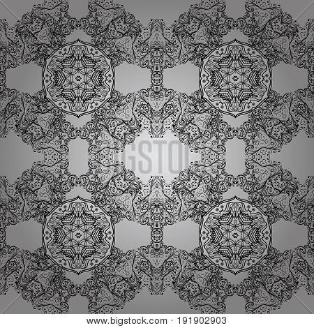 Dim with floral pattern. Gray background with dim elements. Seamless pattern. Vector dim floral ornament brocade textile and glass pattern.