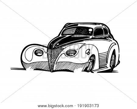 Vector retro hotrod car clipart cartoon Illustration. classic vintage car