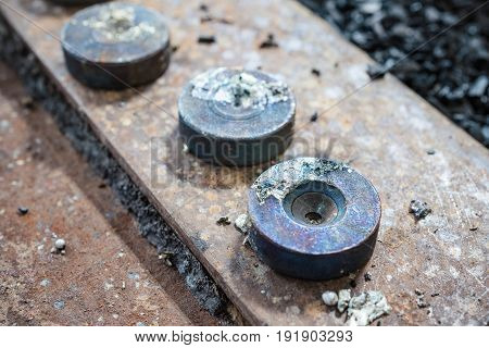 Industrial tinning of wire. Round metal dies for drawing copper wire.
