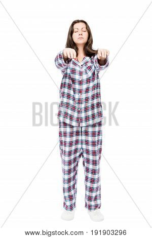 Young Woman Suffers From Sleepwalking In A Dream, Portrait In Full Length On A White Background