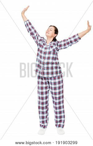 After Sleeping Stretched Girl In Pajamas On A White Background In Full Length
