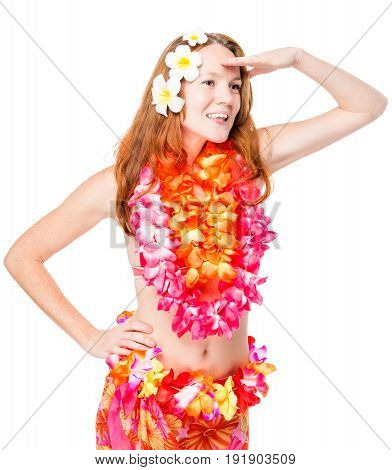 Woman Looks To The Side On A White Background. Clothing In Hawaiian Style