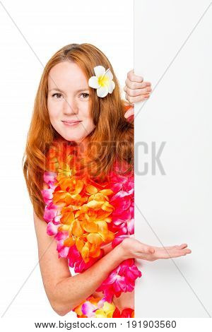 Portrait Of A Woman In Floral Lei With An Empty Poster In Hands