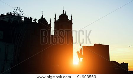 Cathedral Se do Porto silhouette during sunset, Porto, Portugal.