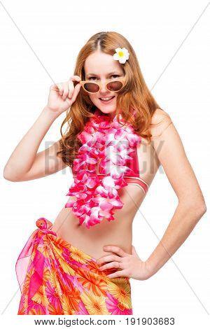 Hawaiian Model In Bikini On White Background In Studio Posing