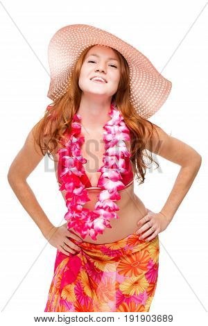Happy Smiling Woman With Red Hair In Beach Image In Floral Lei On White Background