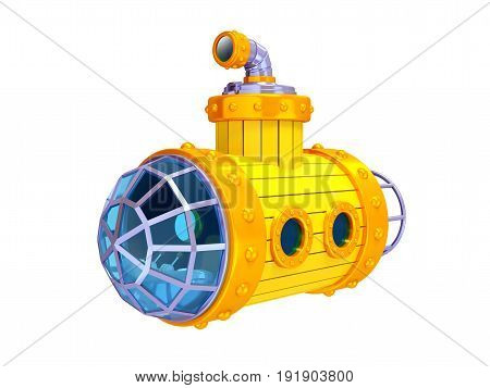old steampunk yellow submarine isolated on white. 3d illustration