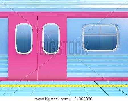 closed door of subway train. 3d illustration.
