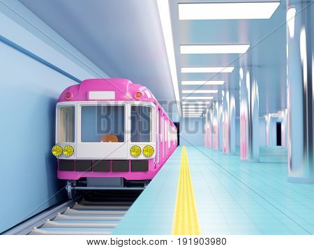 subway train arrive on station. 3d illustration.