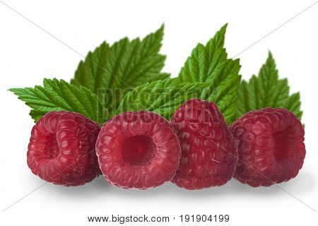 Collection of four different views of raspberry with no shadows, with leaf