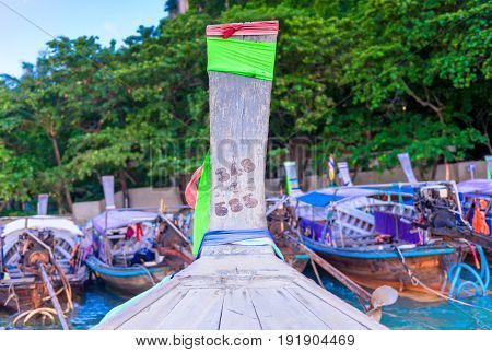 Parked Wooden Thai Boats Long Tail Off Shore