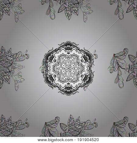 Vector art. Oriental style arabesques. Seamless dim texture curls. Seamless pattern on gray background with dim elements. Brilliant lace stylized flowers paisley. Openwork delicate dim pattern.
