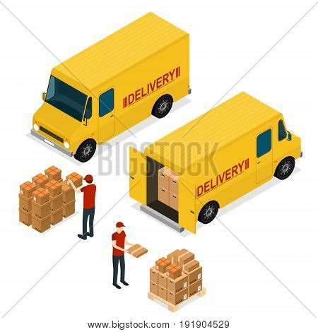 Delivery Car Logistic Service Concept Isometric View with Workers and Cardboard Boxes. Vector illustration
