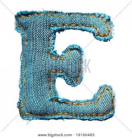 Handgemachte Buchstabe des Alphabets jeans