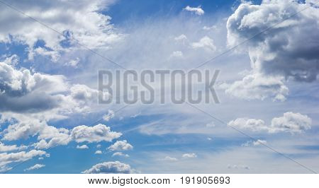 Background of the sky with cumulus storm and cirrus clouds in summer day
