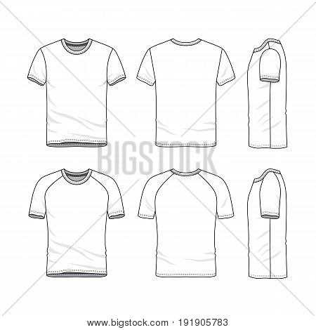Vector templates of clothing set. Front, back, side views of blank t-shirt. Sportswear, uniform clothes. Fashion illustration. Line art design.