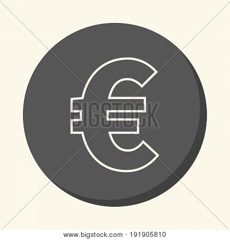 Vector symbol of euro european currency round linear icon with illusion of volume simple color change