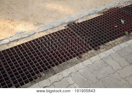 close up of grunge grate on the floor
