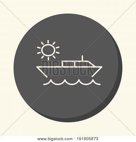 Vector image of the boat in the ocean and the sun a round linear icon with the illusion of volume a simple color change