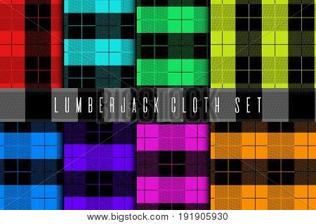 Set of lumberjack cloth. Seamless tartan material pattern. Saturated colorful fabric woodcutter tissue