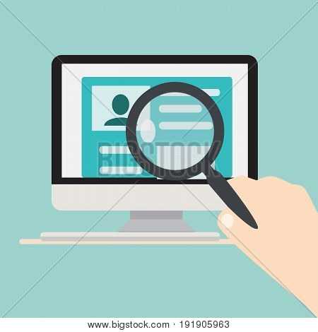Searching people concept.Computer on a desk and a hand holding magnifying glass over searching person on screen vector illustration