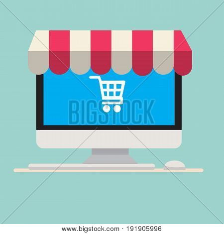 Computer with awning and cart icon on screen.Computer with keyboard and mouse.Shopping online concept.Vector illustration