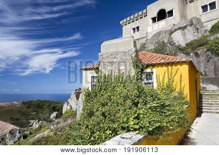 SINTRA, PORTUGAL - SEPTEMBER 22, 2016: View of the Peninha Sanctuary located in the Sintra Mountain range near Lisbon Portugal