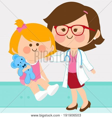 Vector illustration of a female pediatrician examining a little girl.
