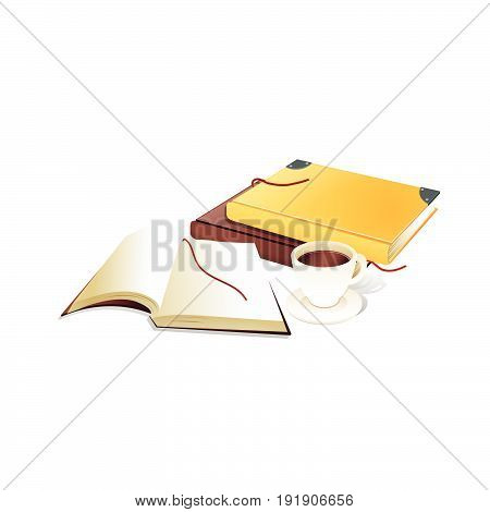 Book with ribbon bookmark and cup of coffe. realistic vector Illustration