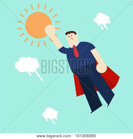 Super business man in red capes flying upwards to the sun vector illustration
