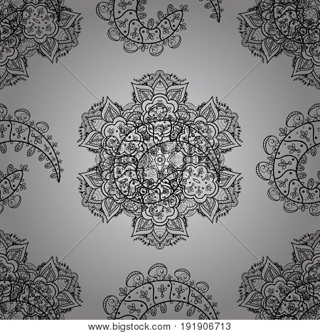 Vector geometric background. Dim color seamless illustration. For your design sketch. Dim seamless pattern on gray background with dim floral elements.