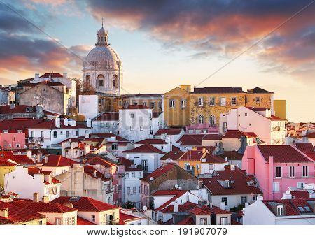 Lisbon Portugal at a sunset, Alfama old city