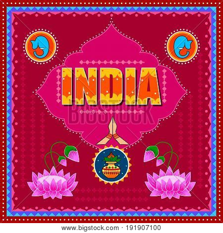 Vector design of India background in Indian Truck Art style
