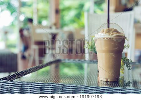 ice coffee frappe refreshment take away cup in cafe