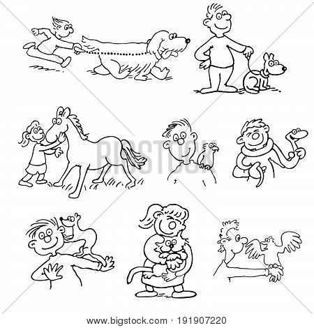 Hand-drawn Vector illustration of animal Trainer and care cartoon