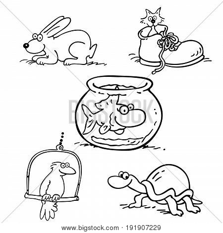 animal pet collection cartoon. outlined cartoon drawing sketch illustration vector.