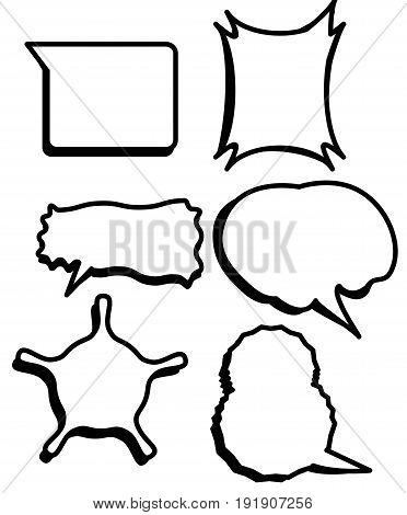 Comic bubbles set vector and blank speech textbox