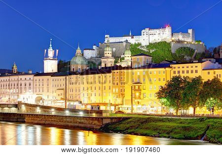 Historic city of Salzburg with Hohensalzburg Fortress at dusk Salzburger Land Austria