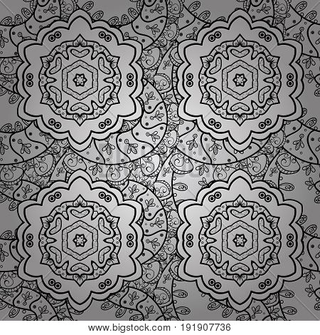 Dim floral ornament in baroque style. Dim floral seamless pattern. Damask background. Dim element on a gray background.